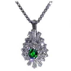 Tsavorite and Diamond Platinum Pendant
