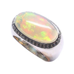Fine White Opal 18K Gold Dome Ring