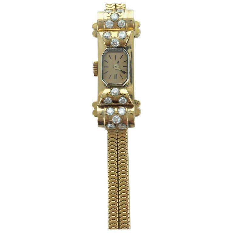 Ladies Yellow Gold Diamond Wristwatch, 1940s