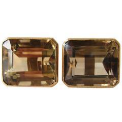 Gold Smokey Quartz Modernist Cufflinks