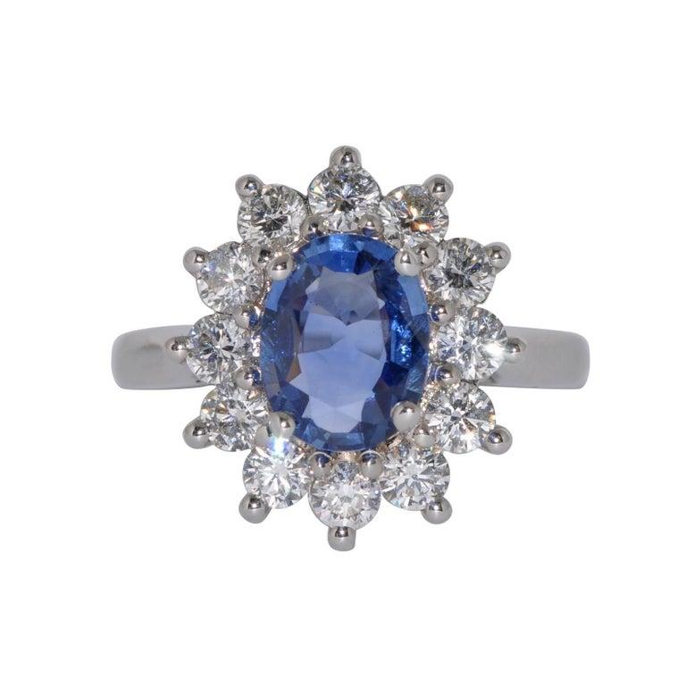Royal Ceylon Sapphire and White Diamonds on White Gold Engagement Ring