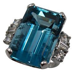 Spectacular Santa Maria Aquamarine Diamond Cocktail Ring