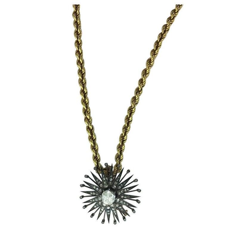 Antique Rose Cut Diamond Silver Gold Pendant Necklace Gold Chain