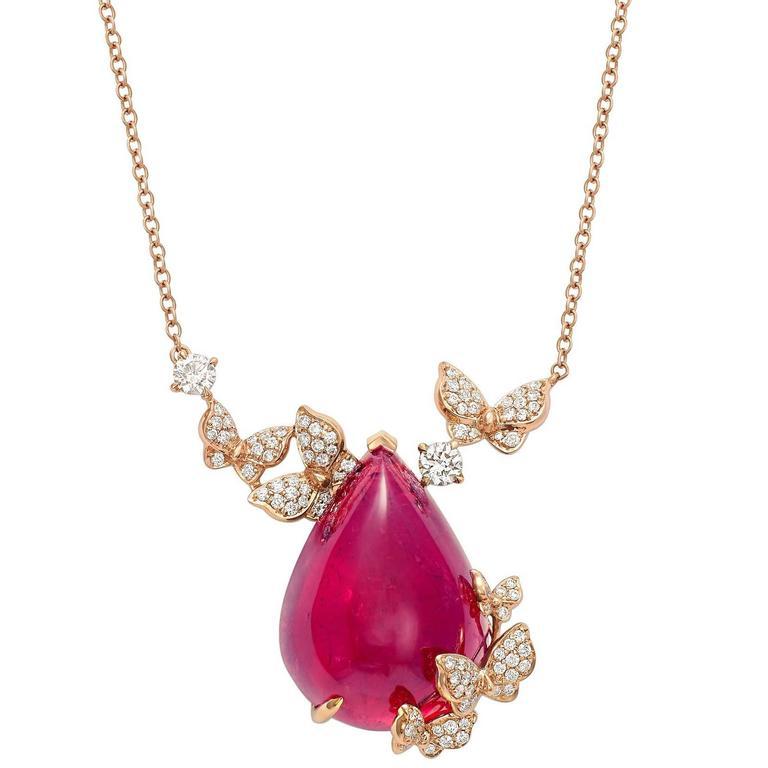 Rose Gold, White Diamonds and Rubellite Cabochon Necklace