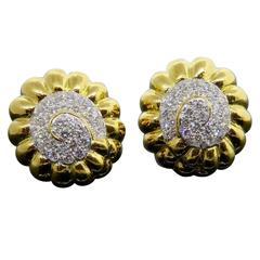David Webb Sea Shell Style Paved Diamond Earrings