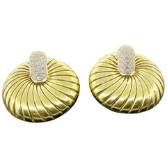 Demner 18K Yellow Gold Diamond Sea Shell Earrings