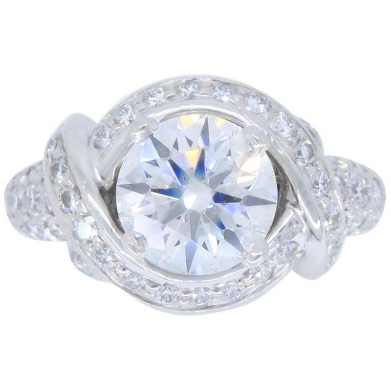 Tiffany & Co. Schlumberger Signature Diamond Platinum Engagement Ring