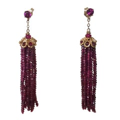 Faceted Amethyst Tassel Earrings with 14 k Yellow Gold