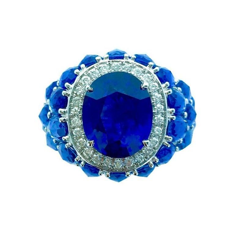 8.20 Carat Ceylon Blue Sapphire on Sapphire Diamond White Gold Ring