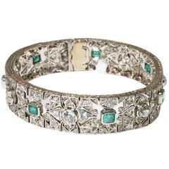 Art Deco Diamond Emerald Platinum Bracelet