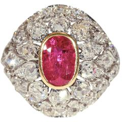 French Belle Époque Untreated Ruby Diamond Gold Ring