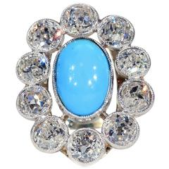 French Belle Époque Turquoise Diamond Gold Platinum Cluster Ring