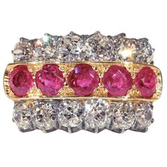 Victorian Diamond Ruby Silver Gold Ring