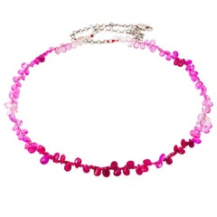 Shades of Pink Sapphires White Gold Briolette Necklace