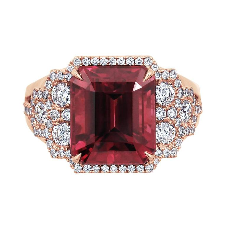 Frederic Sage 8.48 Carat Fine Rhodolite Garnet Diamond Rose Gold Ring