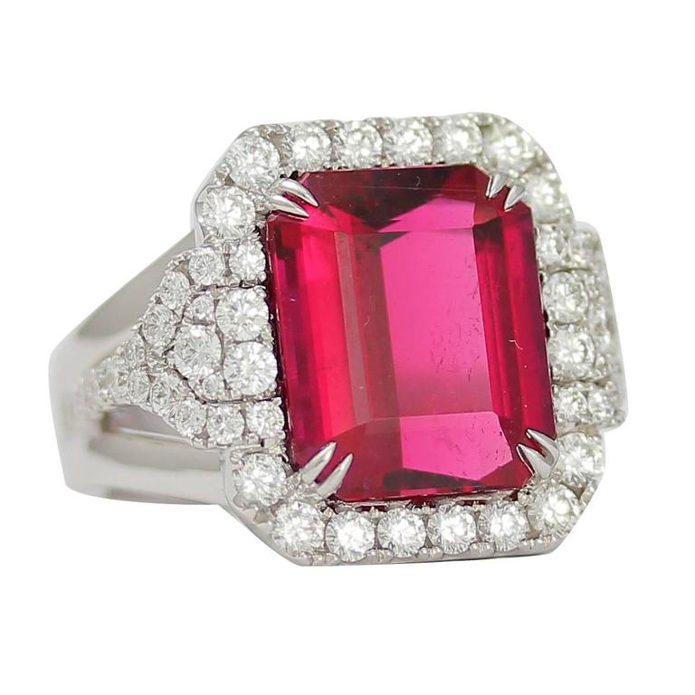 Frederic Sage 10.19 Fine Rubellite Diamond White Gold One of a Kind Ring For Sale