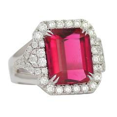 Frederic Sage 10.19 Fine Rubellite Diamond White Gold One of a Kind Ring