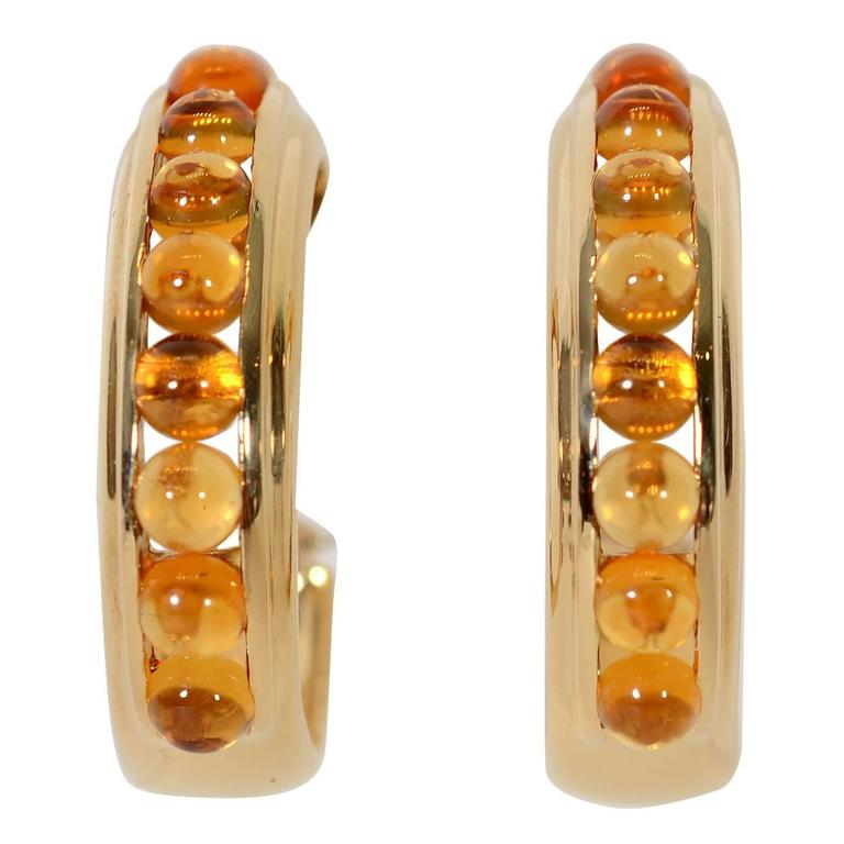 Citrine Gold Hoop Earrings