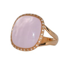 Pink Quartz and Diamonds Pink Gold Ring