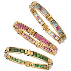 Bulgari Multicolor Gemstone Yellow Gold Set of Three Bracelets