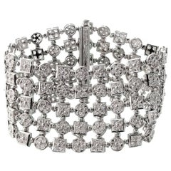 Diamond White Gold Wide Flexible Bracelet Attributed BULGARI LUCEA Collection