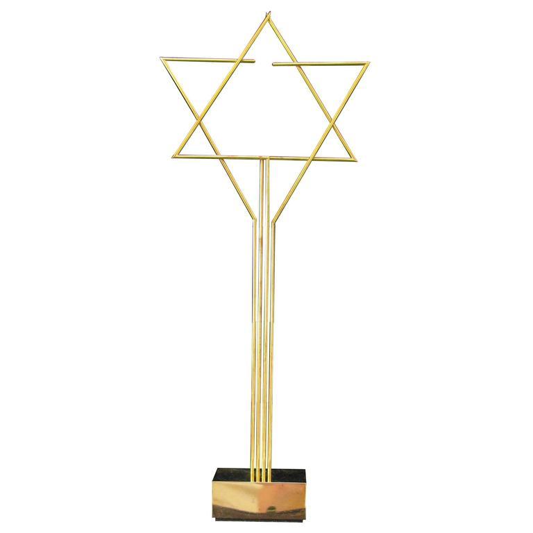 Yaakov Agam Gold Kinetic Star of David Sculpture