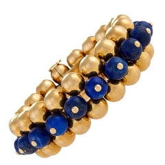 Marzo Paris 1930's Art Deco Lapis Lazuli and Gold Flexible Bracelet