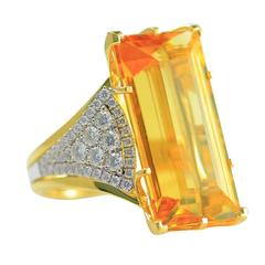 Frederic Sage 21.64 Carat Yellow Beryl Diamond Yellow and White Gold Ring