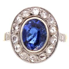 French Belle Époque Sapphire Diamond Gold Ring