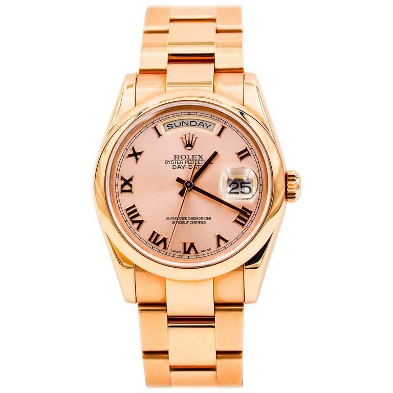 Rolex Rose Gold DayDate Oyster Bracelet Automatic Wristwatch, 2007