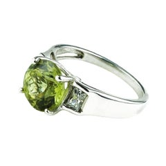 Greenish Yellow Chrysoberyl in Sterling Silver Ring