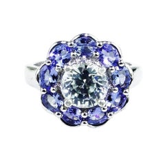 Glittering Round Zircon Surrounded by Tanzanites Sterling Silver Cocktail Ring