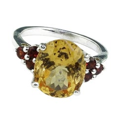 Golden Tourmaline and Garnet Sterling Silver Ring