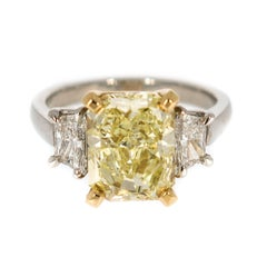 Natural Fancy Yellow Diamond Platinum Ring