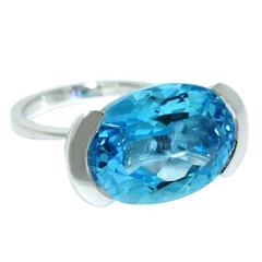 Lizunova Blue Topaz Cocktail Ring in White Gold