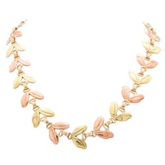 1950s Tiffany & Co. Pink and Yellow Gold Leaf Necklace