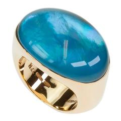 Vhernier Blue Topaz Mother-of-Pearl Rose Gold Smart Ring