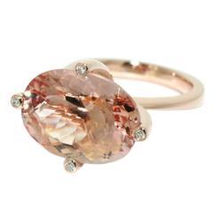 Lizunova Morganite and Diamond Rose Gold Cocktail Ring
