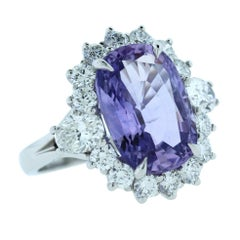 9.22 Carat Natural Violet Purple Sapphire Diamond Platinum Ring