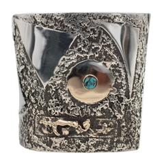 Bisbee Blue Turquoise Sterling Silver Gold Cuff Bracelet