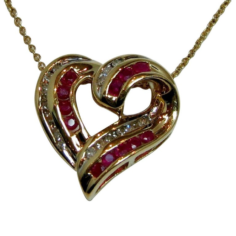 Ruby and Diamond Sweetheart Necklace in 14Kt yellow gold