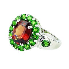 Spessatite Garnet Surrounded by Chrome Diopside in Sterling Silver Ring