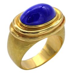 Hammered Gold and Lapis Lazuli Ring