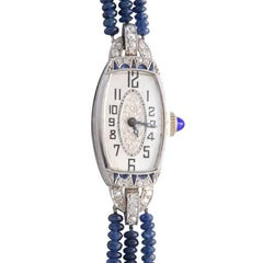 Ladies White Gold Diamond Sapphire Art Deco Wristwatch, 1924