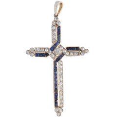 Diamond and Channel Set Sapphires Cross Pendant