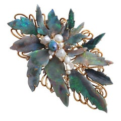 Unique 1960s Mintabie Black Opal, Natural Pearl and Diamond Gold Brooch