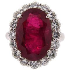 10.03 Carat GRS Certificate Burmese Ruby Diamond Platinum Ring
