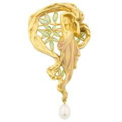 Masriera Enamel Pearl Gold Brooch Pendant