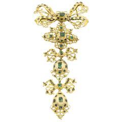 18th Century Spanish Emeralds Gold Pendant