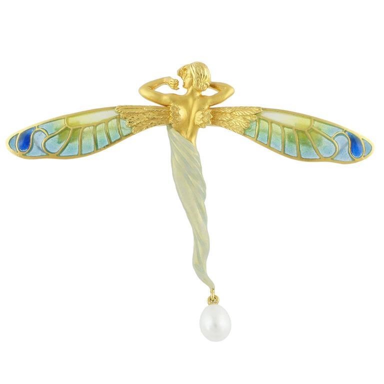 Masriera Enamel Pearl 18K Gold Brooch Pendant For Sale